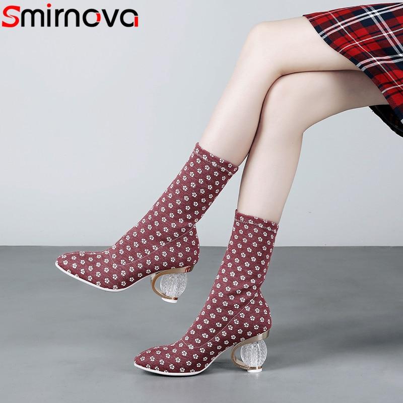 Smirnova 2018 fashion autumn shoes woman elegant street style Elastic boots comfortable mid calf boots women big size 35 43
