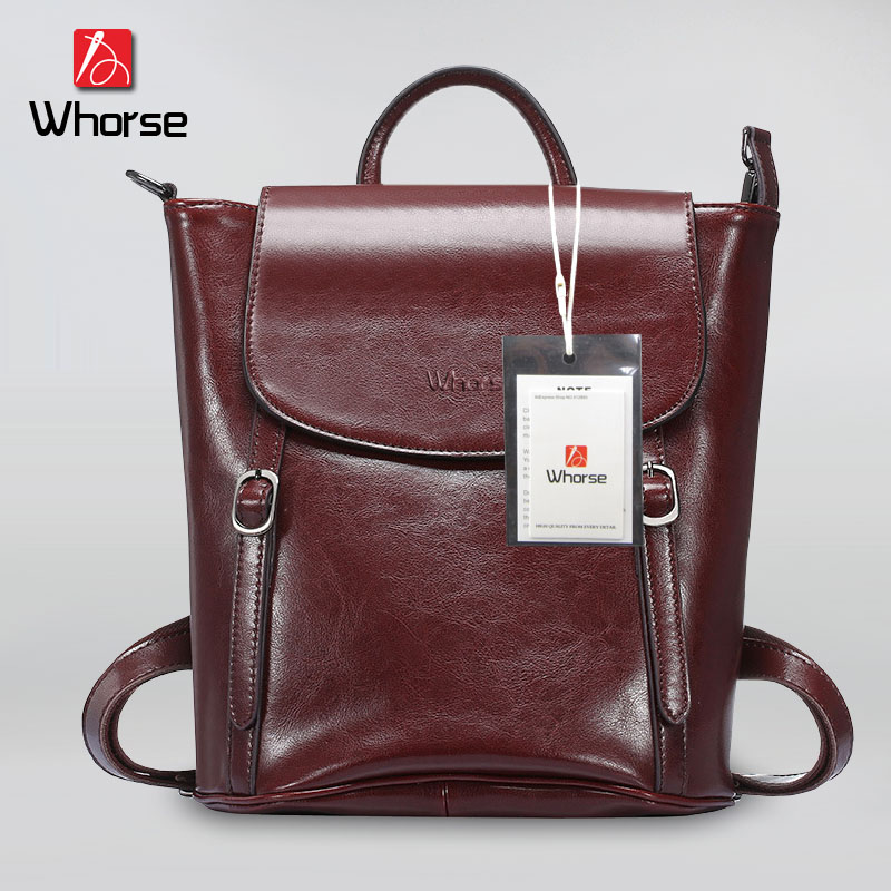 ФОТО [WHORSE] Brand Vintage 2017 Cow Genuine Leather Backpacks For Women Big Capacity Exquisite Crafts Oil wax leather High Quality