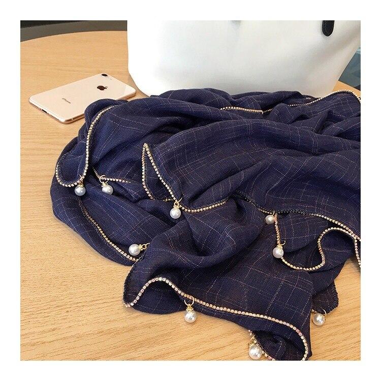 1 pc simples soild algodão cachecol corrente