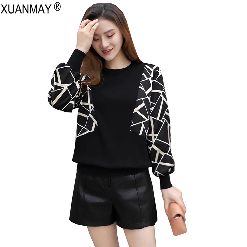 2019 Brand Design Casual Pullover Sweater Spring Women Lace Stitching Knit Sweater Elegant Leopard Print Black Knitting Top