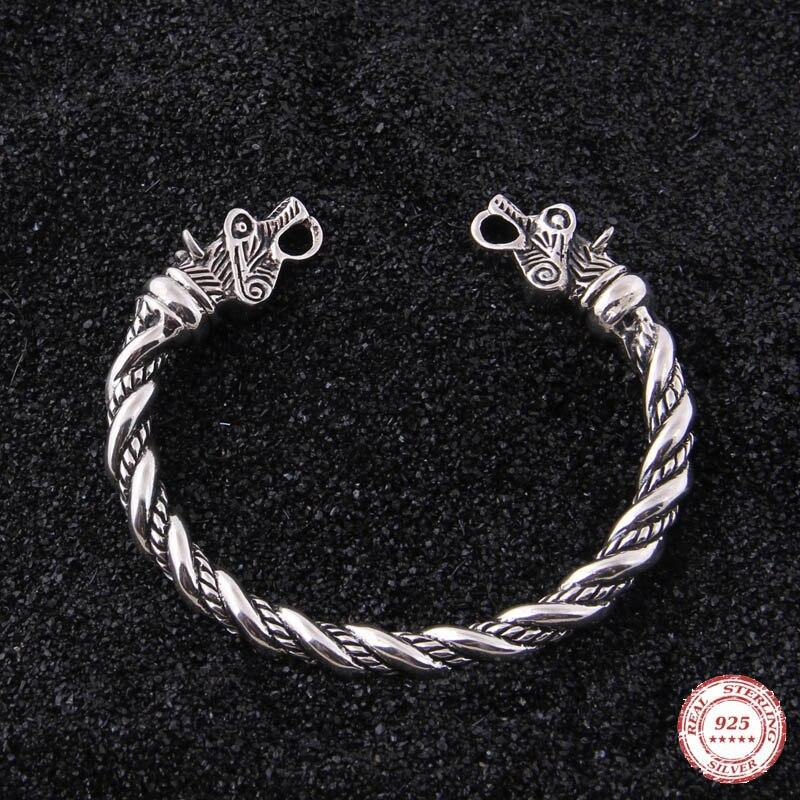 Yage DropShipping 925 Sterling Silver rune Lupo vichingo del braccialetto regolabile