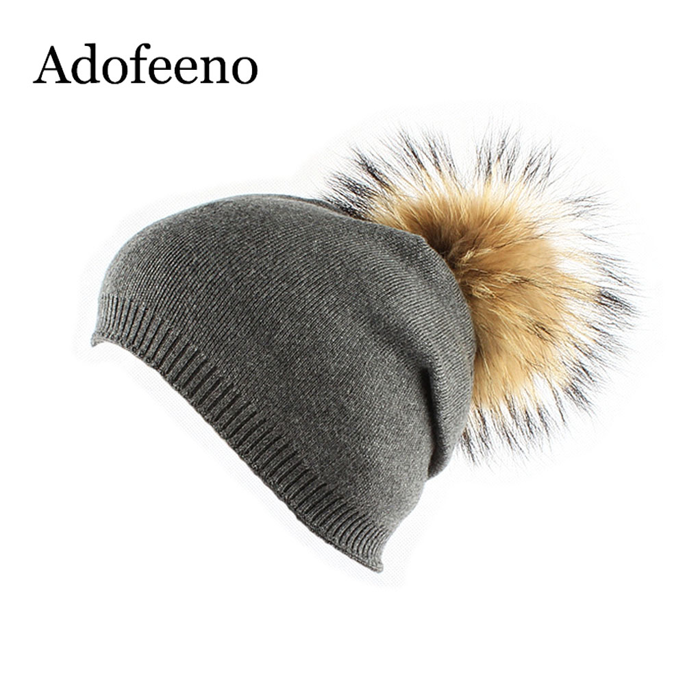 Adofeeno New Raccoon Fur Pom Poms Knitted Hat Warm Winter Hats Caps Skullies Beanies For Women Girl new star spring cotton baby hat for 6 months 2 years with fluffy raccoon fox fur pom poms touca kids caps for boys and girls