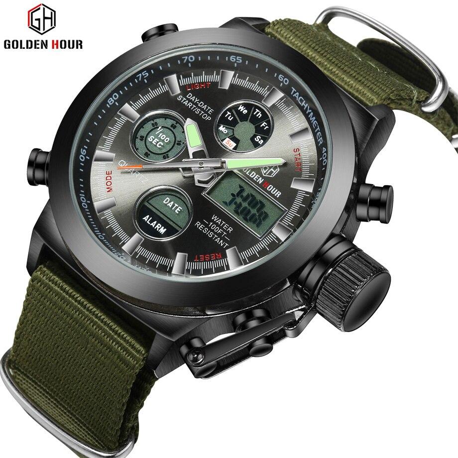 28ce29f4389 Top Marca de Luxo de Quartzo dos homens Sports Digital Relógios LED Nylon  Militar Do Exército À Prova D  Água Cronômetro Relógio de Pulso Reloj Hombre