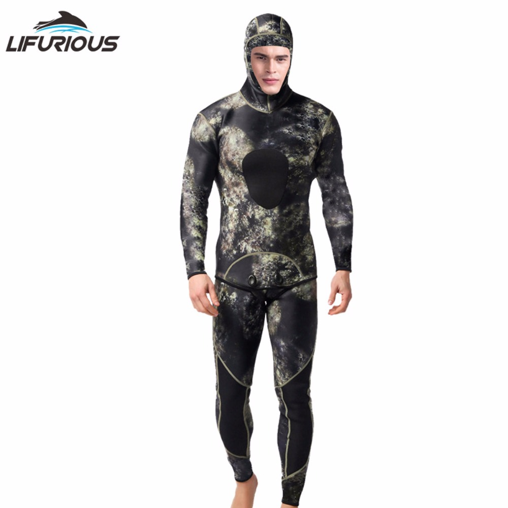 2cfc65d4a4 LIFURIOUS 3MM Scuba Diving Suits for Men 2 Pieces Long Sleeve Keep Warm  Wetsuits Spearfishing Rash