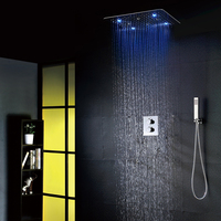 Luxury Bathroom Shower Faucet Set 20 Inch Rain Showers With Light Easy Installation Embedded Box Thermostatic Shower Mixer