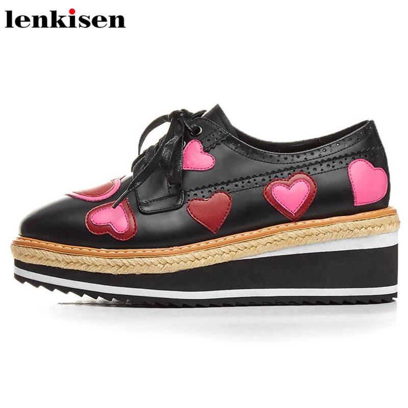Lenkisen european style round toe lace up platform causal shoes med heels heart-shaped party runway women vulcanized shoes L07