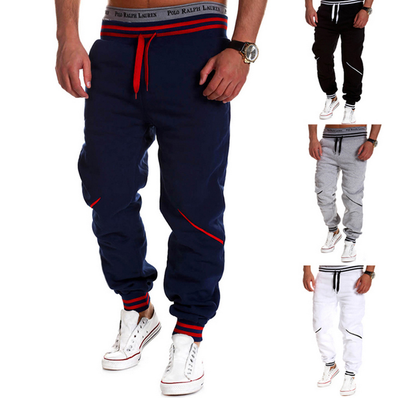Fashion New Men Fitness Casual Elastic Pants Stretch Cotton Pants Splice Body Loose Trousers H9