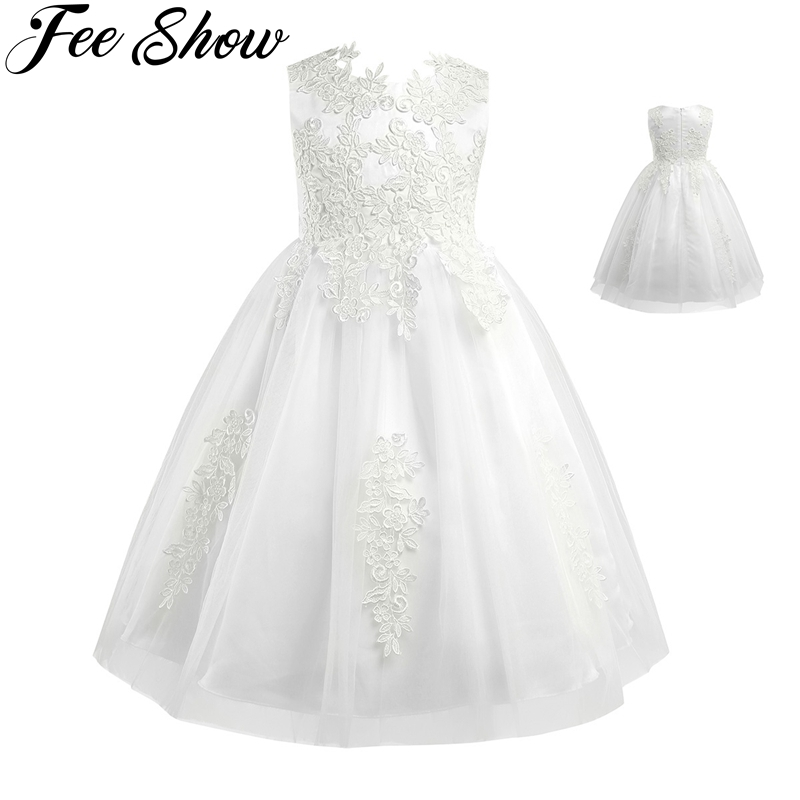 3-10year Cute Kids Baby Toddler Girl Dress Sleeveless White Floral Lace top bodice formal girls dresses for party and wedding kids summer dresses for girls dress 2016 style fashion sleeveless cute voile party and wedding baby kids white dress