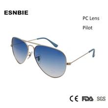 ESNBIE Classic Pilot Sunglasses 3025 Design 58mm Mens Gradient Lens oculos Male Stainless Steel Sun Glasses Men Women Vintage стоимость