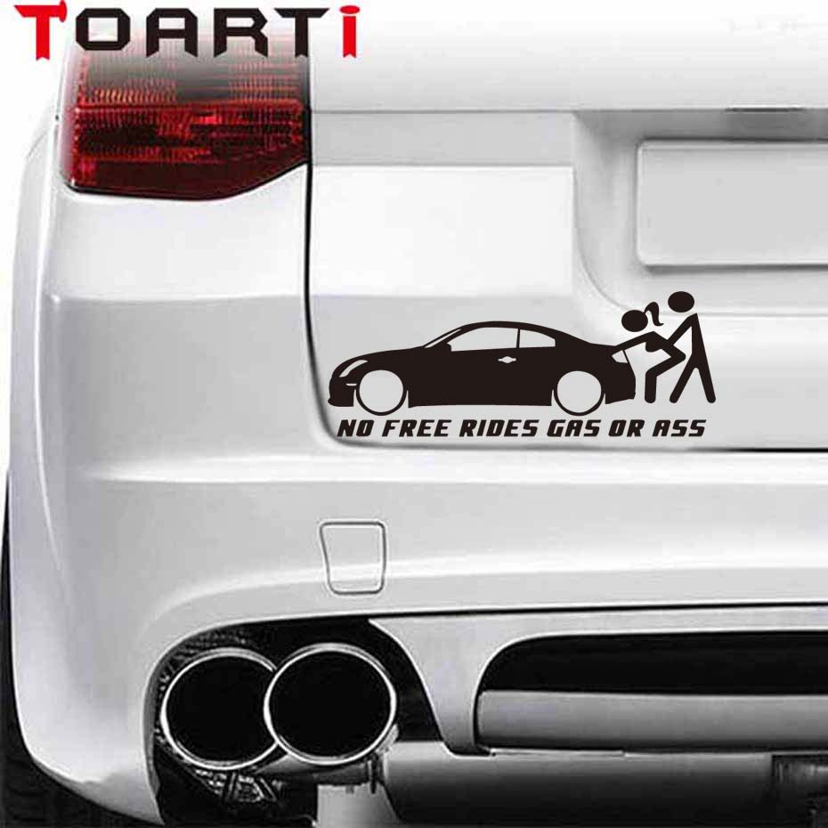 207 5cm warning no free rides gas or ass funny vinyl decals car sticker euro jdm for window bumper body car styling decorating