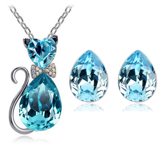 Lovely gift free shipping promotion bridal summer quality cute Austrian Crystal cat pendant necklace earrings fashion jewelryset