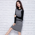adohon 2016 womens winter Women's Sets Cashmere Sweater and dress women High Quality Warm Female Plaid Knee-length Elastic Waist