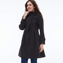 Women Coats Casual Vintage Elegant Winter Black Office Lady Plus Size Slim Hooded Button Green Female Fashion Retro Overcoats(China)
