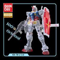 Bandai Shanghai Tokyo Gundam Base Limited 1/100 MG RX-78-2 3.0 Color Transparent Action Figure Kids Assembling Toy Gifts