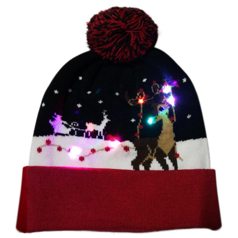 Г., 43 дизайна, светодиодный Рождественский головной убор, Шапка-бини, Рождественский Санта-светильник, вязаная шапка для детей и взрослых, для рождественской вечеринки - Цвет: 07