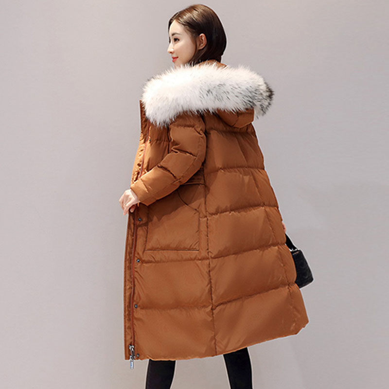 White Duck   Down   Jacket Women Winter Goose Feather   Coat   Long Fur Collar Hooded Parkas Slim Thick Warm Outerwear Duck   Down     coat