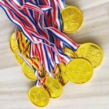 50 pçs/set crianças ouro plástico vencedores medalhas esportes dia festa saco prêmio prêmios brinquedos para crianças festa diversão suprimentos de alta qualidade