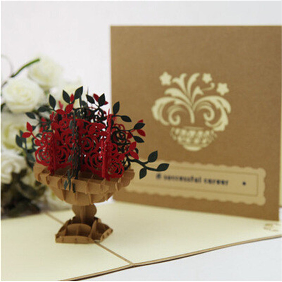 2017 New Fashion 3d Beautiful Flowers Blessing Cards Cornucopia