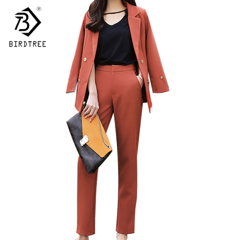 2018 New Arrival Fashion Pants Suits Women Blazer 2 Two Piece Set Solid Jacket & Pant Blazers Femme Mujer Plus Size C81118L