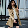 Alta Calidad!! 2016 Del Otoño Del Resorte Casual Trench coat para las mujeres Más El Tamaño de Largo de Doble botonadura Rompevientos Ropa Exterior Abrigos