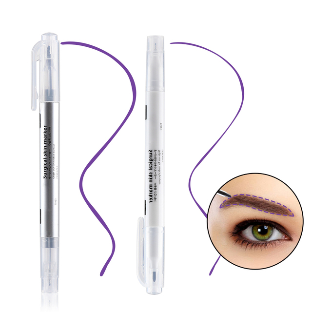 1 Set Surgical Skin Marker Eyebrow Marker Pen Beauty Tattoo Skin Marker Pen With Measuring Ruler Positioning Tool 2