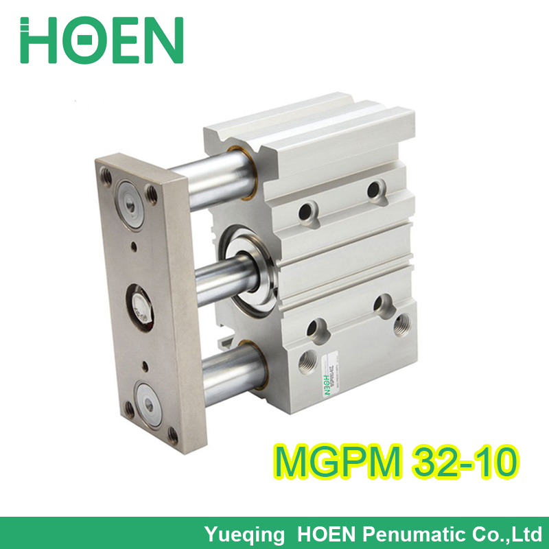 mgpm32-10 double acting guide pneumatic cylinder guide rod three rod pneumatic cylinder MGPM32 x10 mgpm32 30 32mm bore 30mm stroke series three shaft double acting air cylinder with rubber bumper mgpm32 30