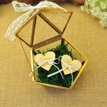 パーソナライズされたガラス結婚指輪ボックス、素朴な結婚指輪ホルダーボックス提案婚約指輪ボックスの結婚式の装飾