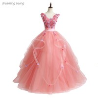 2019 Cheap Ball Gowns Sweet 16 Long Pink Quinceanera Dresses Off Shoulder 3D Flowers For Quinceanera 15 Years Vestidos De 15