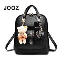JOOZ Brand New Fashion 2017 Heißer Verkauf Luxus Frau Pu-leder rucksack Koreanischen Stil Schultasche Reizende Kleine Bär Spielzeug Casual Taschen