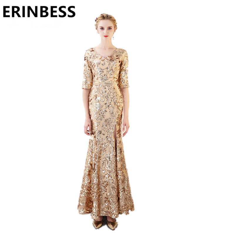 Luxury Gold Sequined Evening Dresses Robe De Soiree 2018 V Neck Long Floor Length Half Sleeve Formal Party Dress