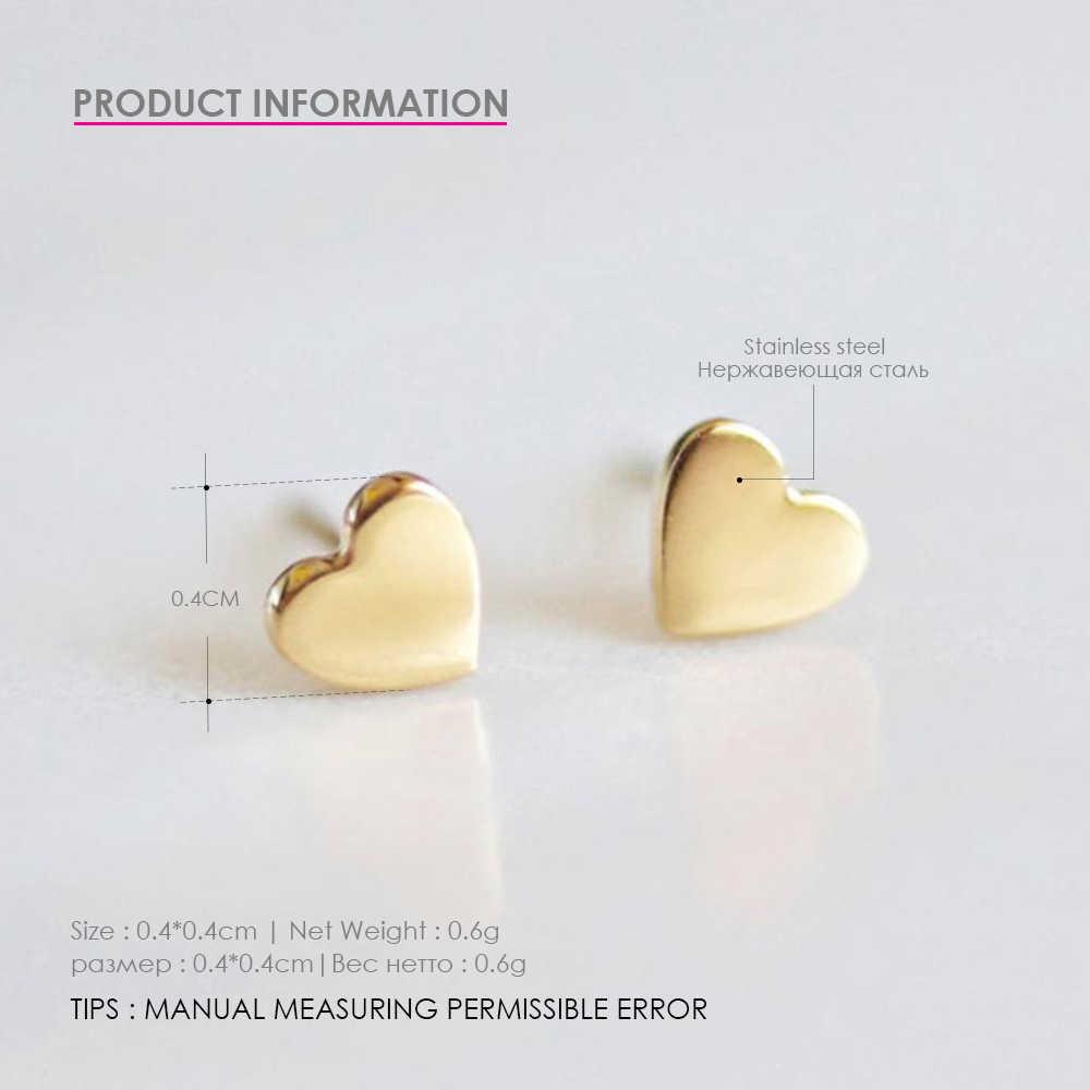 Модные серьги из нержавеющей стали минималистичные маленькие сережки в виде сердца корейский стиль серьги-гвоздики для женщин
