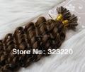 """Indiano de 22 """" de Remy queratina ponta do prego U ponta extensões de cabelo humano onda profunda Curly 1 g/s 100 s Brown # 8"""