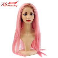 Ali Amazing Hair Brazilian Silky Straight Lace Front Wig Remy Hair Pink Human Hair Wig With Baby Hair and Natural Hairline