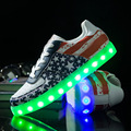 Fashion 8 Colors LED luminous shoes unisex led shoes men  flats USB charging light led shoes led Shuffle shoes size 35-44