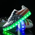Fashion 8 Colors LED luminous shoes unisex led shoes men  flats USB charging light led shoes led Shuffle shoes size 35-44