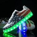 Moda 8 Cores sapatos luminosos LED led unisex sapatos homens sapatos tamanho apartamentos sapatos diodo emissor de luz diodo emissor de luz de carregamento USB Shuffle 35-44