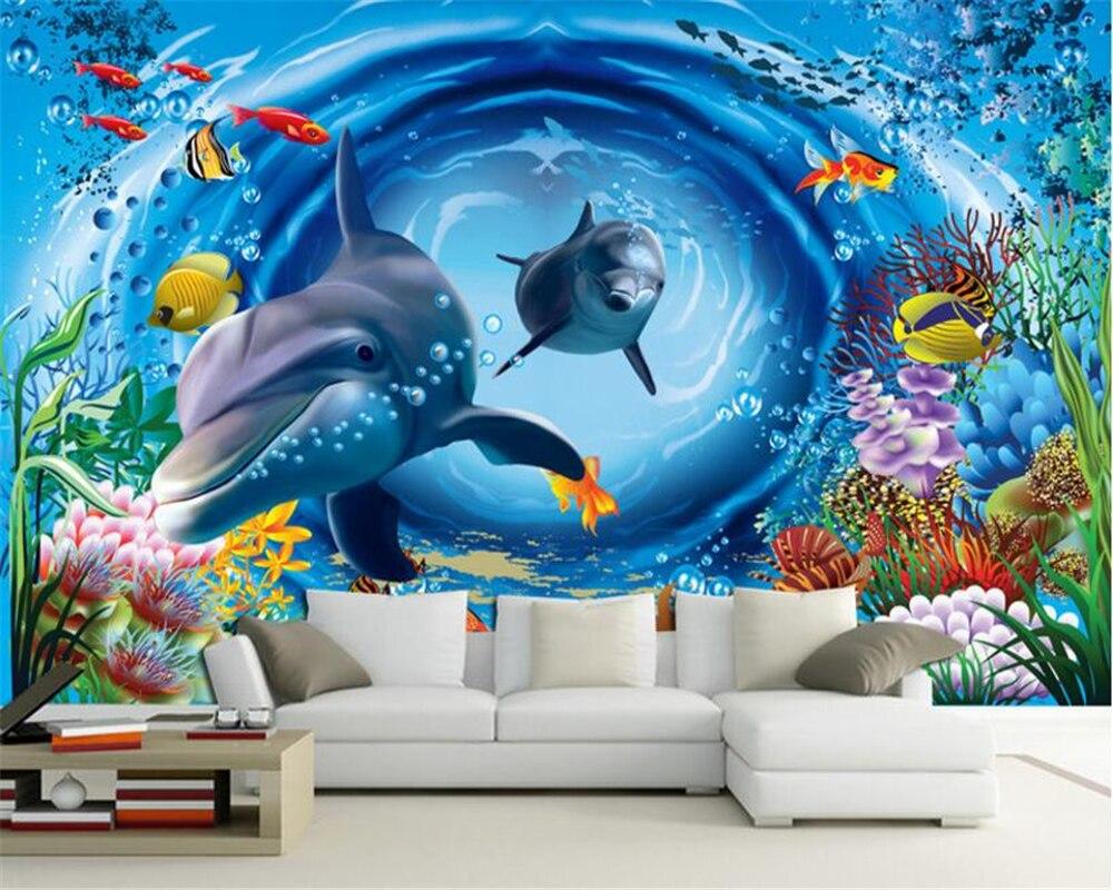 Beibehang Wallpaper Hanging On The Wall 3D Underwater World Cartoon Children 's House Wall Murals 3d Wallpaper Papier Peint