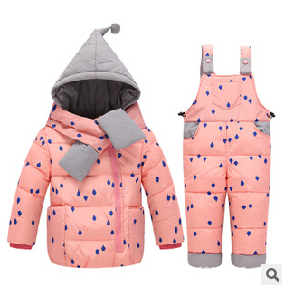 2017 new Children Boys Girls Winter Warm Down Jacket Suit Set Thick Coat+Jumpsuit Baby Clothes Set Kids Hooded Jacket With Scarf new 2017 winter baby thickening collar warm jacket children s down jacket boys and girls short thick jacket for cold 30 degree