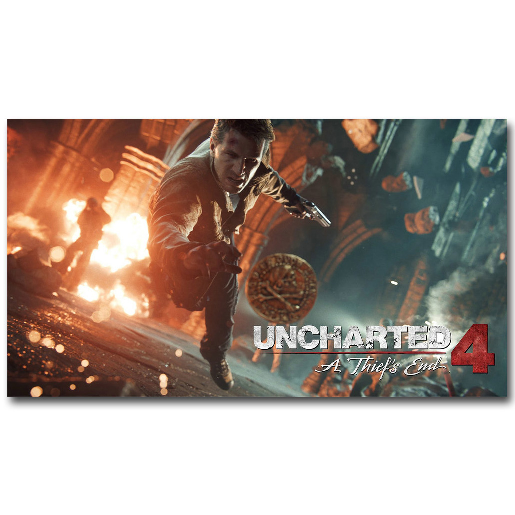 Game Cover Size: 24 x 36 Uncharted 4: A Thiefs End Gaming Poster // Print