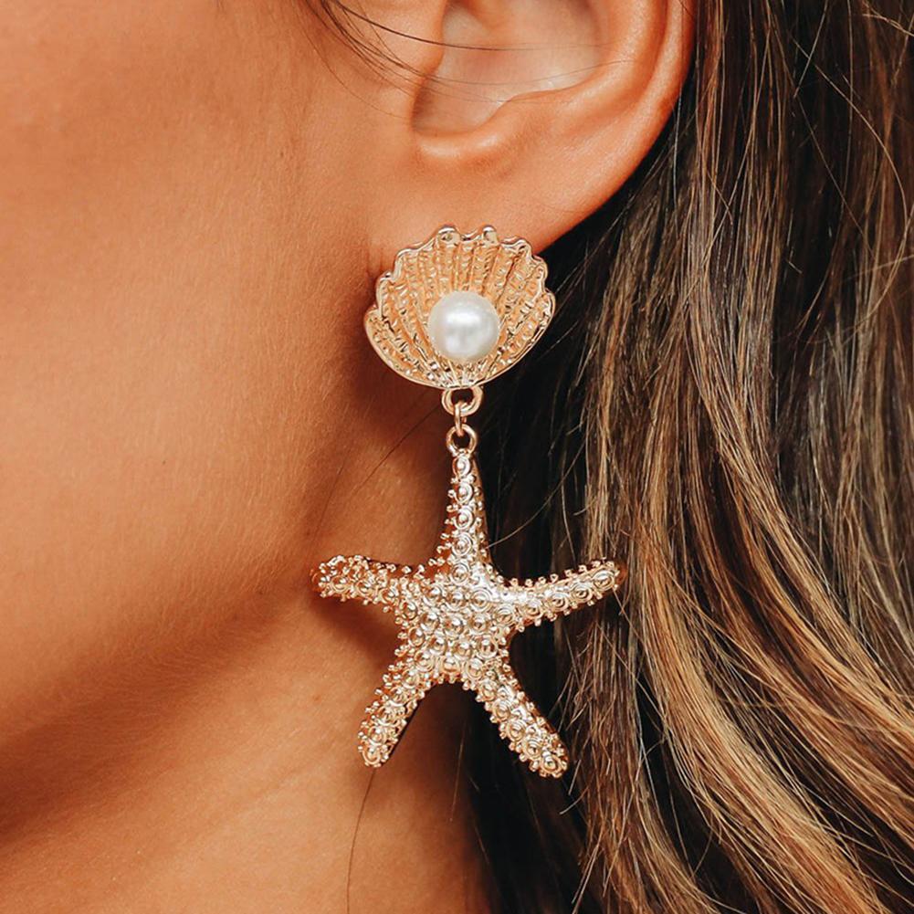 Women Fashion Sea Shell Starfish Pendant Faux Pearl Inlaid Stud Earrings Jewelry