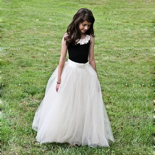 297a21f5a € 54.22 12% de DESCUENTO Falda de tul larga Beige para niña bonita faldas  de longitud hasta el suelo estilo elástico para niña volver a la ...