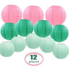 12 Pcs/set 10-14 Big Paper Lantern with Assorted Sizes Round Pink Green Mint Chinese lampion Wedding Party Hanging Decor