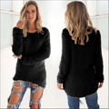 2016 Autumn Women Long Sleeve Sweater Loose Fleece jumper Knitted Pullover Knitwear Outwear Coat irregular Solid tops