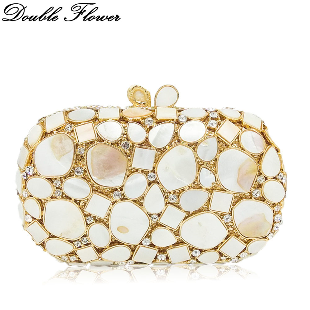 Double Flower Hollow Out White Natural Shell Women Luxury Crystal Clutch Evening Bag Wedding Party Prom Diamond Handbag Purse luxury high end luxury crystal diamond flower hollow evening bag dinner shoulder handbag purse full diamond handbag clutch