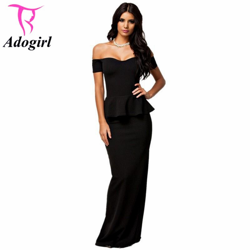 2016 Women New Dress Long Peplum Dress Off Shoulder Short Sleeve Floor Length Maxi Formal Dress For Party Evening Ball Gowns