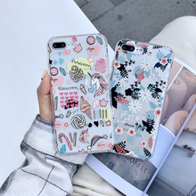 Unicorn and Small floral pattern phone case For iPhone X XS XR XS Max 7 7plus 8 8plus 6/6S Plus Soft  Back Cover Cases wood floral soft silicone edge mobile phone cases for apple iphone x 5s se 6 6s plus 7 7plus 8 8plus xr xs max case
