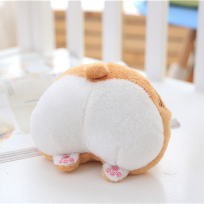 1pc 13*11cm Cute Corgi Sexy Bottom Coin Bag Stuffed Plush Toy Kawaii Soft Purse Wallet for Girls and Kids Creative Gift Toy Doll