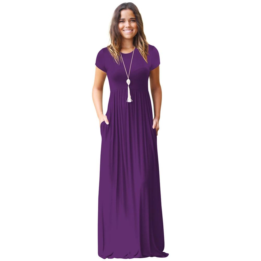 f4adfebb4260 Casual Long Summer Dresses For Women 2018 Short Sleeve Pocket Floor ...