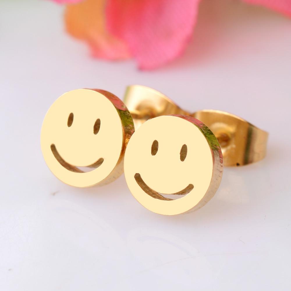 Высококачественные серьги гвоздики из нержавеющей стали со смайликом золотого цвета для мужчин и женщин, никогда не линяют 025|Серьги-гвоздики|   | АлиЭкспресс