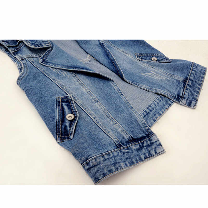 Frühling-Sommer Frauen Jeans Jacke Kurze Weste Oberbekleidung Korea Schlank Ärmelloses Denim Jacke Casual Weibliche Westen Plus Größe 4XL